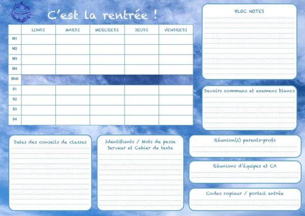 freebie rentrée pré-rentrée document gratuit prof fiche synthèse école collège lycée