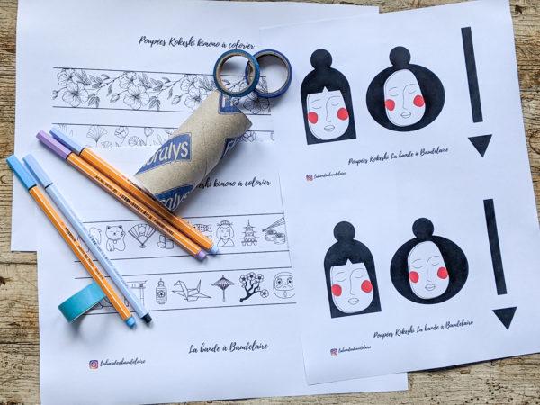 poupée kokeshi à imprimer et à colorier