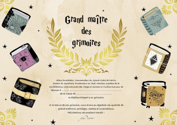 diplôme Harry Potter grimoires