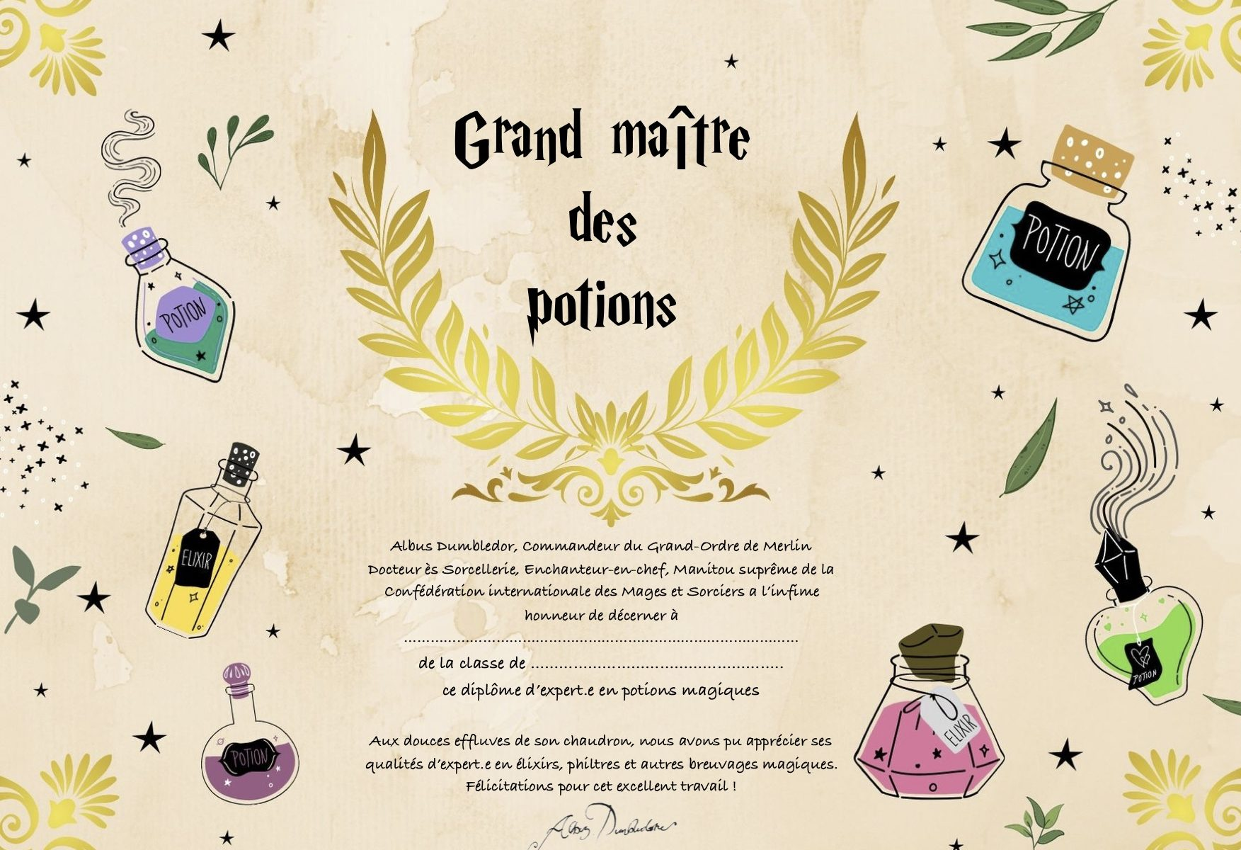 diplôme Harry Potter potions
