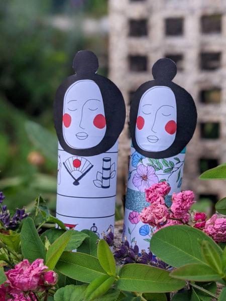 poupée kokeshi à imprimer et à colorier rouleau papier toilette