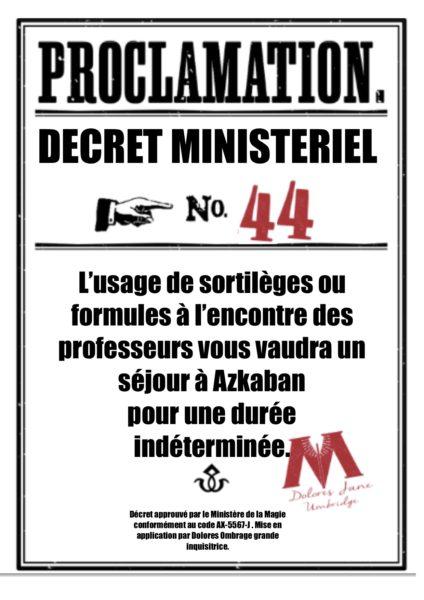 proclamations Harry Potter en français collège Pouldard Dolores Ombrage
