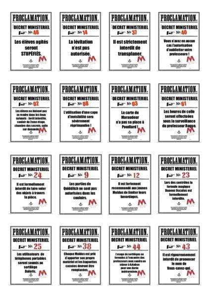 proclamation Harry Potter à imprimer en français salle de classe