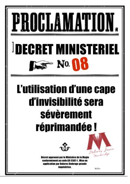 proclamations Harry Potter en français collège Pouldard