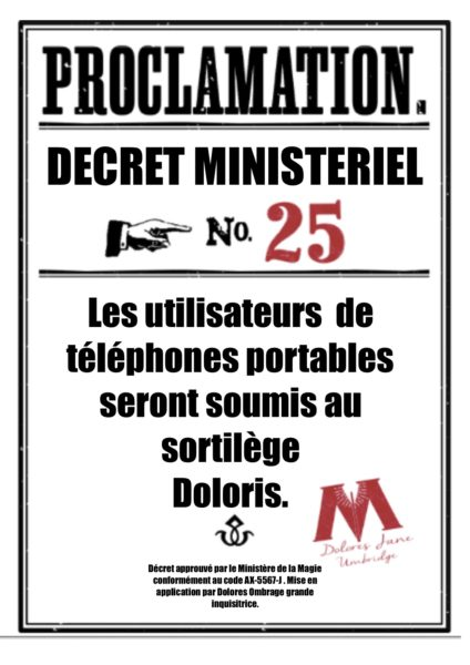 Proclamations Dolores Ombrage à imprimer