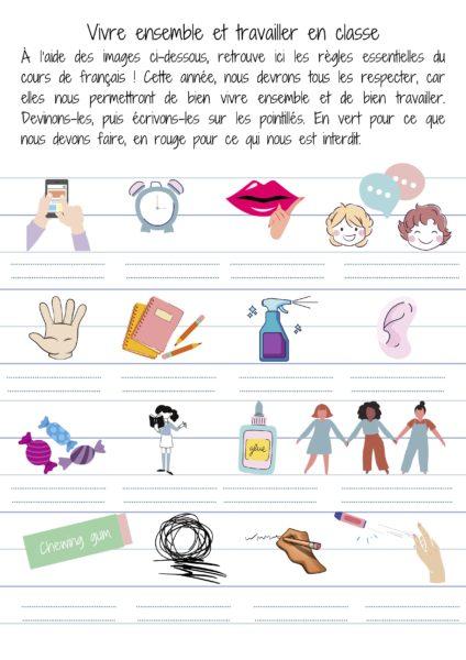 règles du cours vie de classe cours de français
