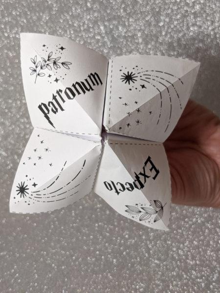 cocotte en papier Harry Potter à télécharger cootie catcher La bande à Baudelaire expecto patronum patronus