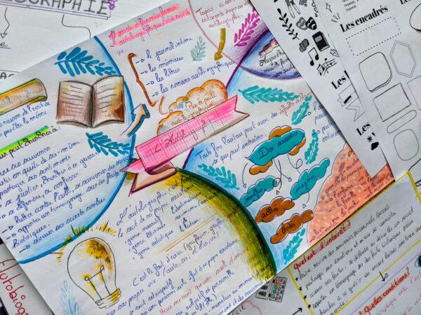 sketchnoting sketchnote cours de français fiche de révision